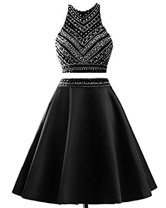 MEILISAY Womens Two Pieces Homecoming Dresses Sparkly Beaded Short Prom Dresses with Rhinestones