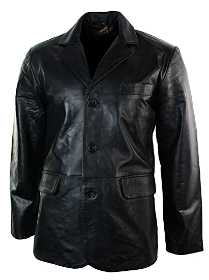 Mens Real Leather Jacket Black Smart Casual Classic Blazer Retro