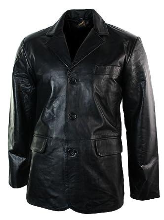 more photos 898e5 b1ab6 Giacca Nera Lunga da Uomo in Vera Pelle Stile Blazer Classico Retro Vintage  nero