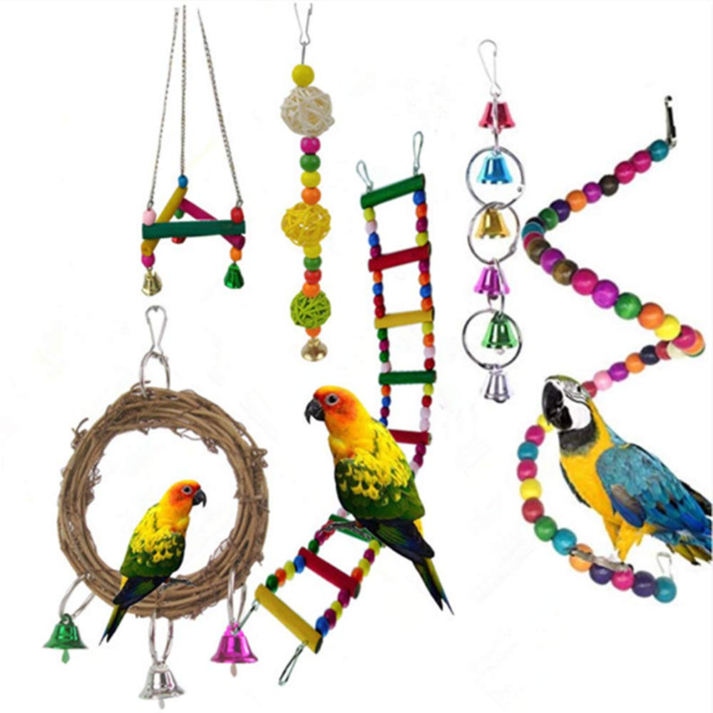 Bird Toys 6-Piece Chewing Swing Toy for Playing Colorful Suits for Small and Medium-Sized Parrot Birds,Cockatiels,Parrots,Macaws,Finch by XinC