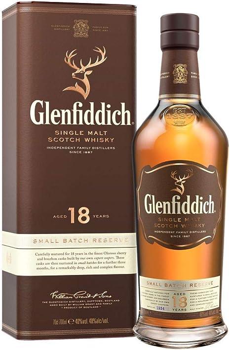 Glenfiddich Whisky de malta escocés 18 años – 70cl: Amazon.es: Alimentación y bebidas