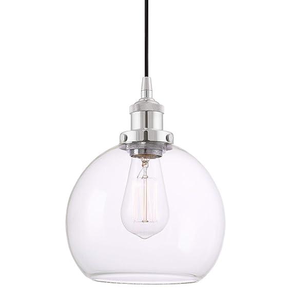 "Revel/Kira Home Theia 8"" Transitional Pendant Light + Clear Glass Globe Shade, Chrome Finish by Kira Home"