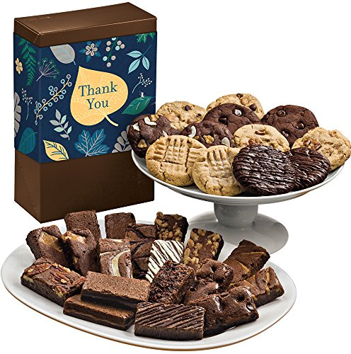 Fairytale Brownies Thank You Deluxe Cookie & Sprite Combo Gourmet Food Gift Basket Chocolate Box - 3 Inch x 1.5 Inch Snack-Size Brownies and 3.25 Inch Cookies - 30 Pieces (Gourmet Snack Combo)