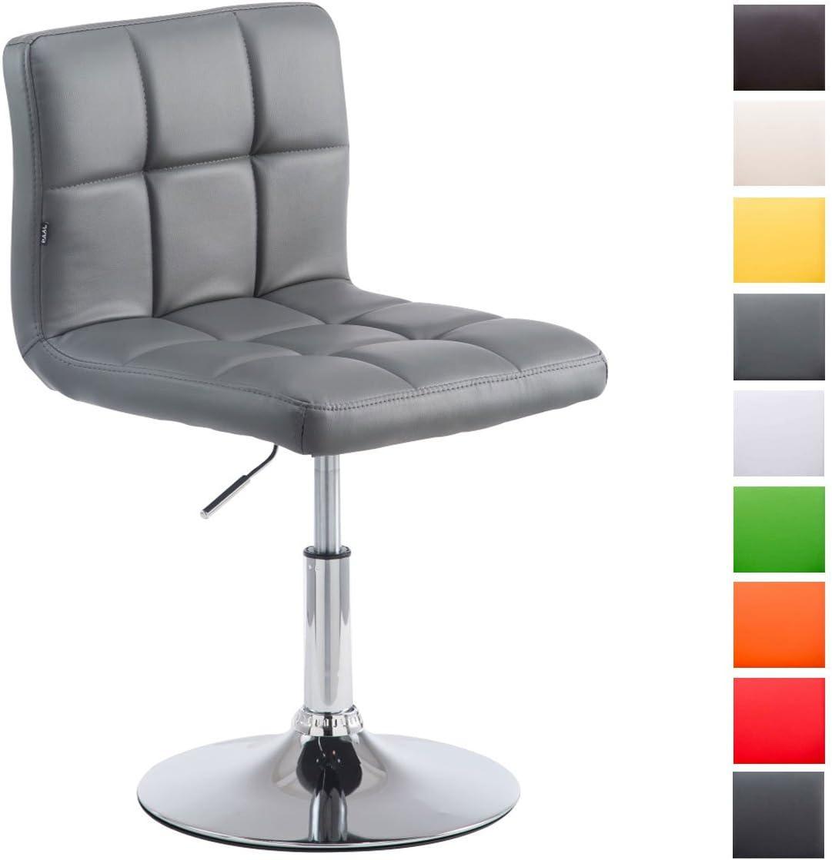 CLP Taburete Bajo Palma V2 En Simil Cuero I Silla Lounge Regulable En Altura & Giratoria I Butaca De Salón Moderna & Acolchado I Color: Gris