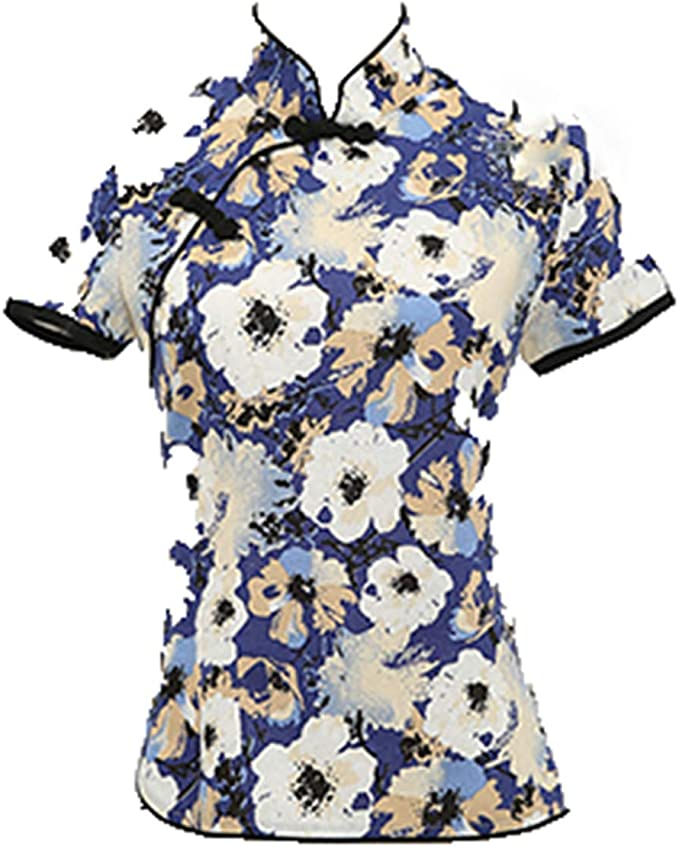 Pragmaticv Cheongsams Tops Mujeres Algodón Lino Tradición China Camisa Delgada de Blusas de Mujer: Amazon.es: Ropa y accesorios