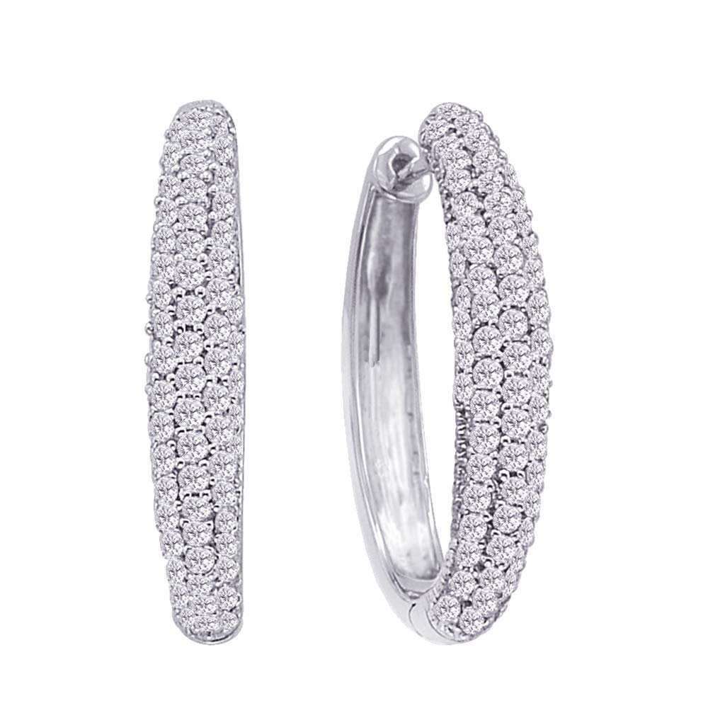3 1//4 cttw, G-H, I2-I3 KATARINA DiamondIn and Out Hoop Earrings in 14k Gold