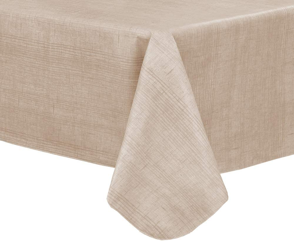 EVERYDAY LUXURIES Sonoma Damask Print Flannel Backed Vinyl Tablecloth 60x102 Oblong Rectangle.