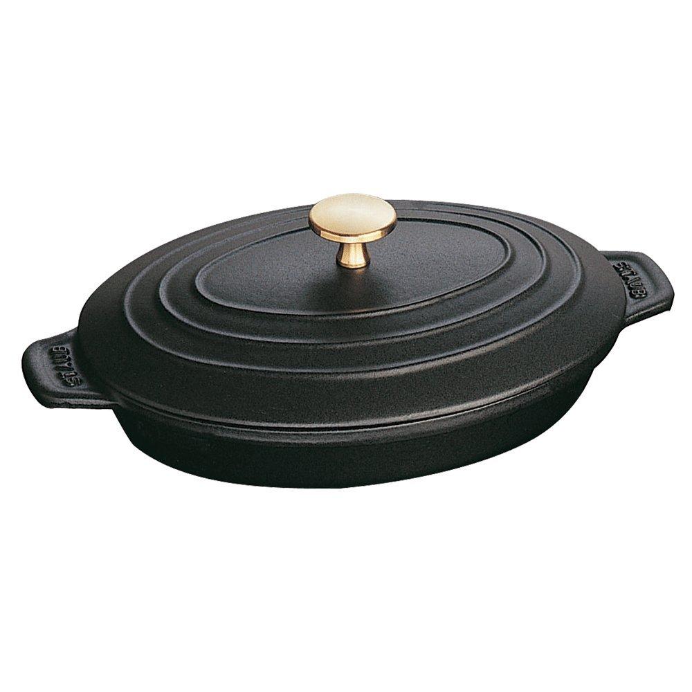Staub Oval Hot Plate w/ Lid, Black Matte, 1 qt. - Black Matte