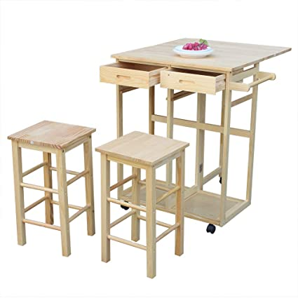 Strange Amazon Com Hobbyn 3 Piece Wood Dining Table Set With 2 Pub Machost Co Dining Chair Design Ideas Machostcouk