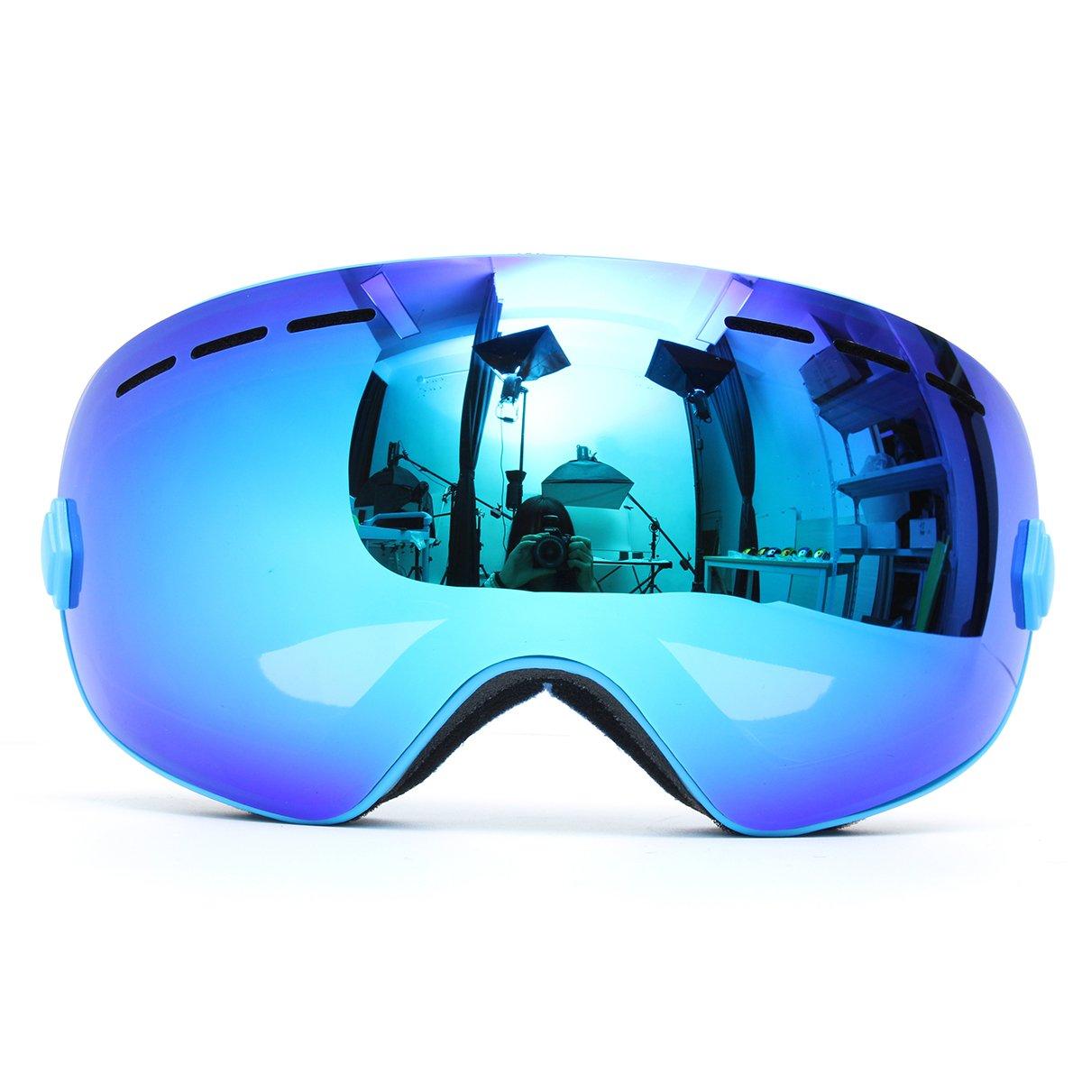 Viviance Profi-Skifahren Motorrad-Snowboardski-Bikegleinert Anti Nebel Uv-Doppel-Lens Blau
