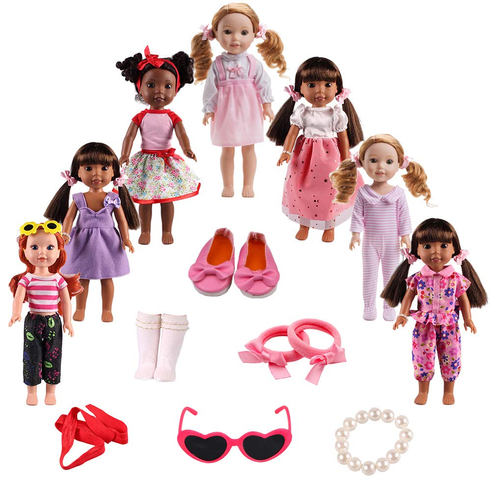 BBTOYS Doll Clothes Shoes Accessories for American Girl Doll chothes 14& 14.5 inch Wellie Wishers Willa Dolls Doll Accessories Set