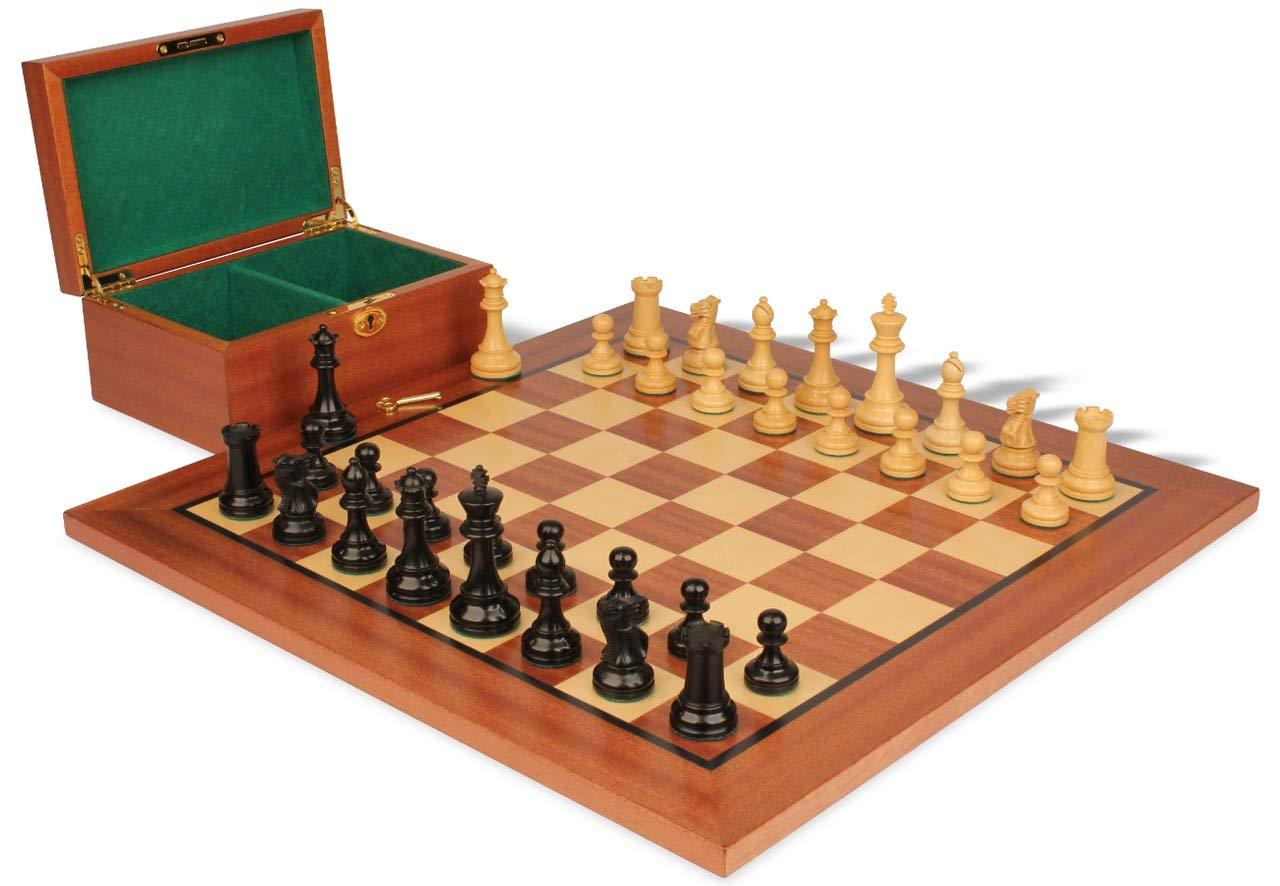 【半額】 British – Stauntonチェスセットin Ebonized King & Boxwood withマホガニーボード&ボックス – 3.5 Ebonized