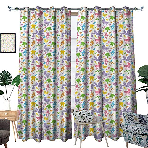 homehot Baby Waterproof Window Curtain Stork with Newborn Bunny Toys Milk Bottles Infant Item Silhouettes Stroller Cartoon Blackout Draperies for Bedroom Multicolor