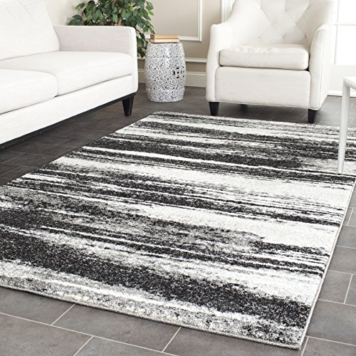 Safavieh Retro Collection RET2693-8479 Modern Abstract Dark Grey and Light Grey Square Area Rug (8' Square)