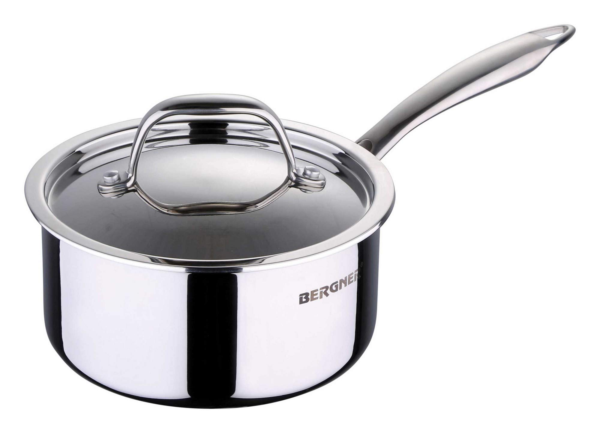 Bergner Argent Triply Stainless Steel Saucepan with Stainless Steel Lid, 18 cm, 2.2 Litres, Induction Base, Silver