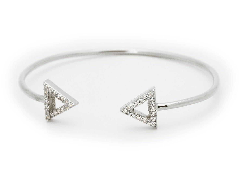 925 Sterling Silver Triangle Cuff Bangle Bracelet