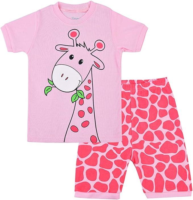 Pijamas Jirafa Niña Conjunto de Pijama Verano Ropa Set Algodon 100% Manga Corta Dos Piezas Niño Tops y Pantalones Cortos: Amazon.es: Ropa y accesorios