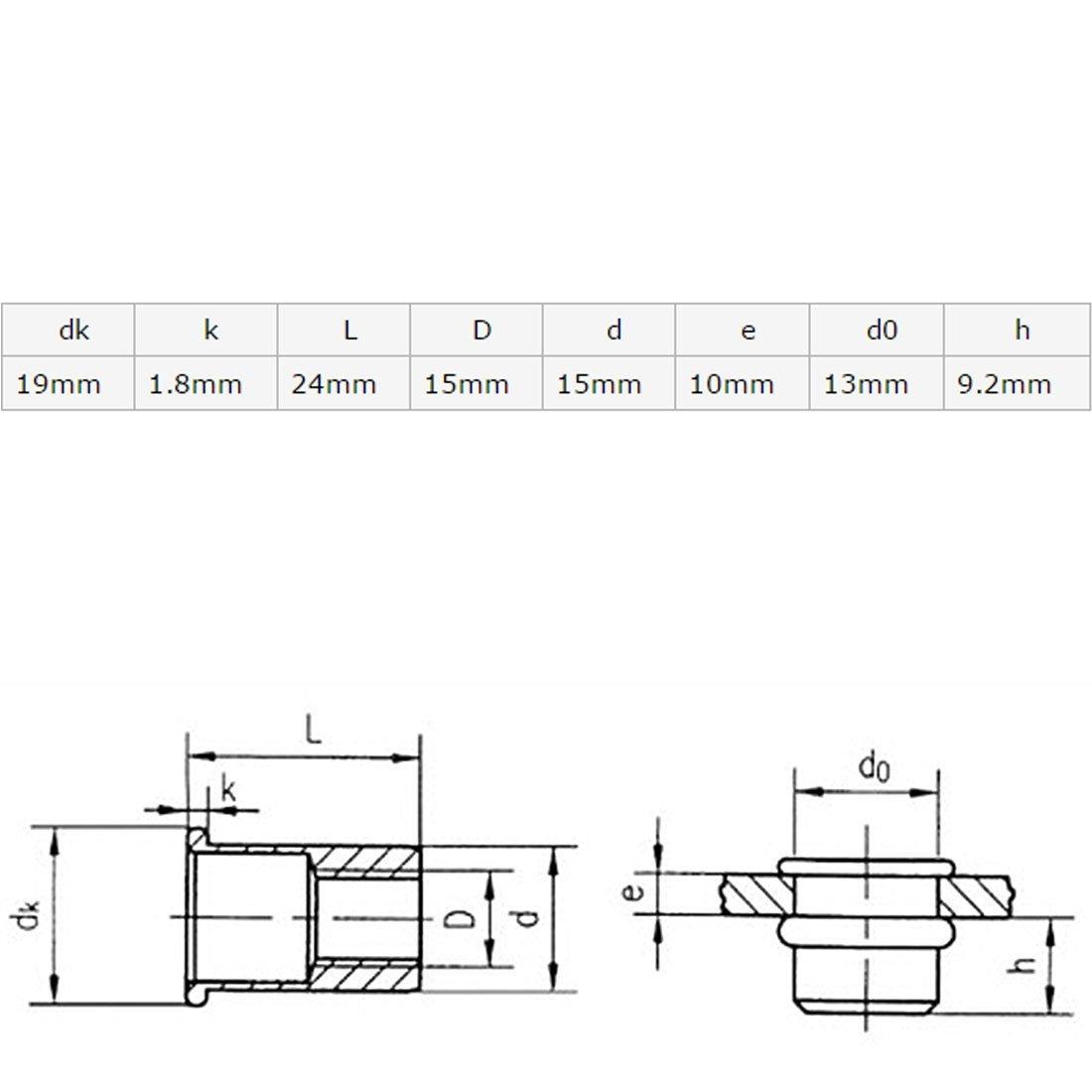 eDealMax a16041900ux0261 Acero inoxidable M12 de cabeza Plana del remache tuerca de inserción