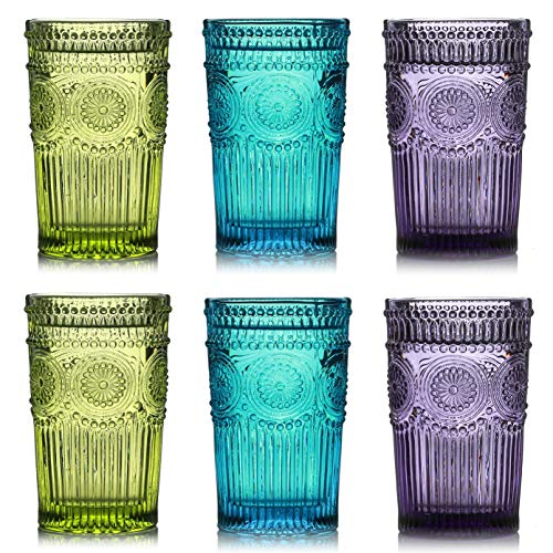 Kingrol 6 Pack Vintage Drinking Glasses, 12 oz Embossed Romantic Water Glassware, Glass Tumbler Set for Juice, Beverages…