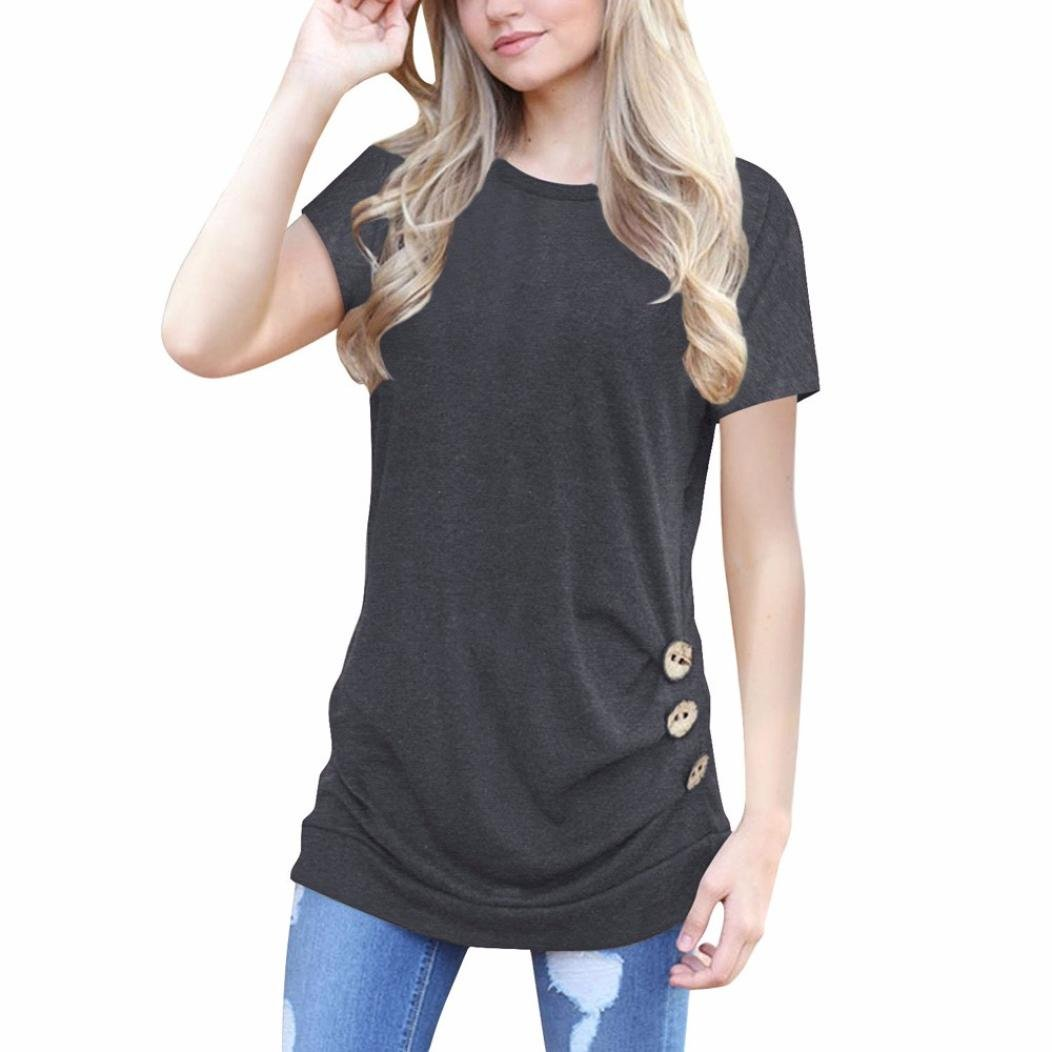 Baigoods New Summer Women Short Sleeve Loose Button Trim Blouse Solid color Round Neck Tunic Daily Comfortable T-Shirt (Size: L, Deep Gray)