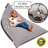 Stuffed Animal Bean Bag Storage ''Stuffie Seat'' - Designer Bean Bag - Stuffed Animal Storage Bean Bag Chair for Kids, Teens and Adults | Extra Large | 100% Cotton Premium Canvas