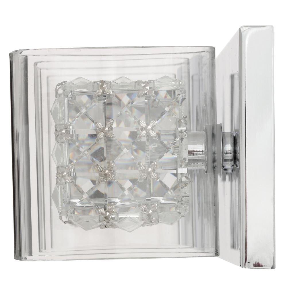 Crystal Cube 3-Light Polished Chrome Vanity Light by Home Decorators Collection