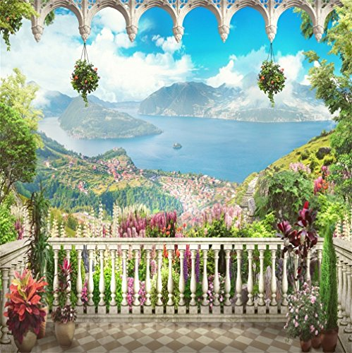 CSFOTO 8x8ft Background for Seaside Panorama On Top View Beautiful Coast Town Village Mountain Ocean Photography Backdrop Leisurely Resort Relax Holiday Tropical Photo Studio Props Vinyl Wallpaper