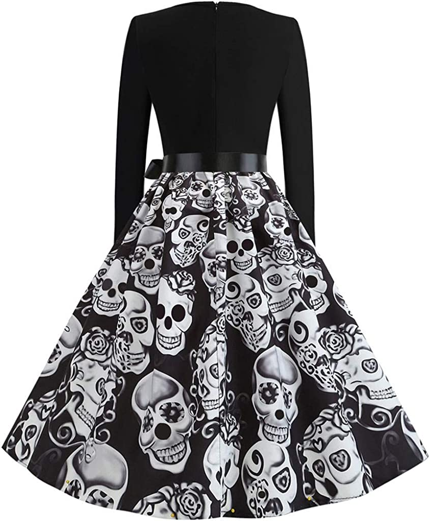 NEEKEY Womens 50s Long Sleeve Cocktail Swing Dress Skeleton Pumpkin Printed Retro Party Dress Cosplay Costume