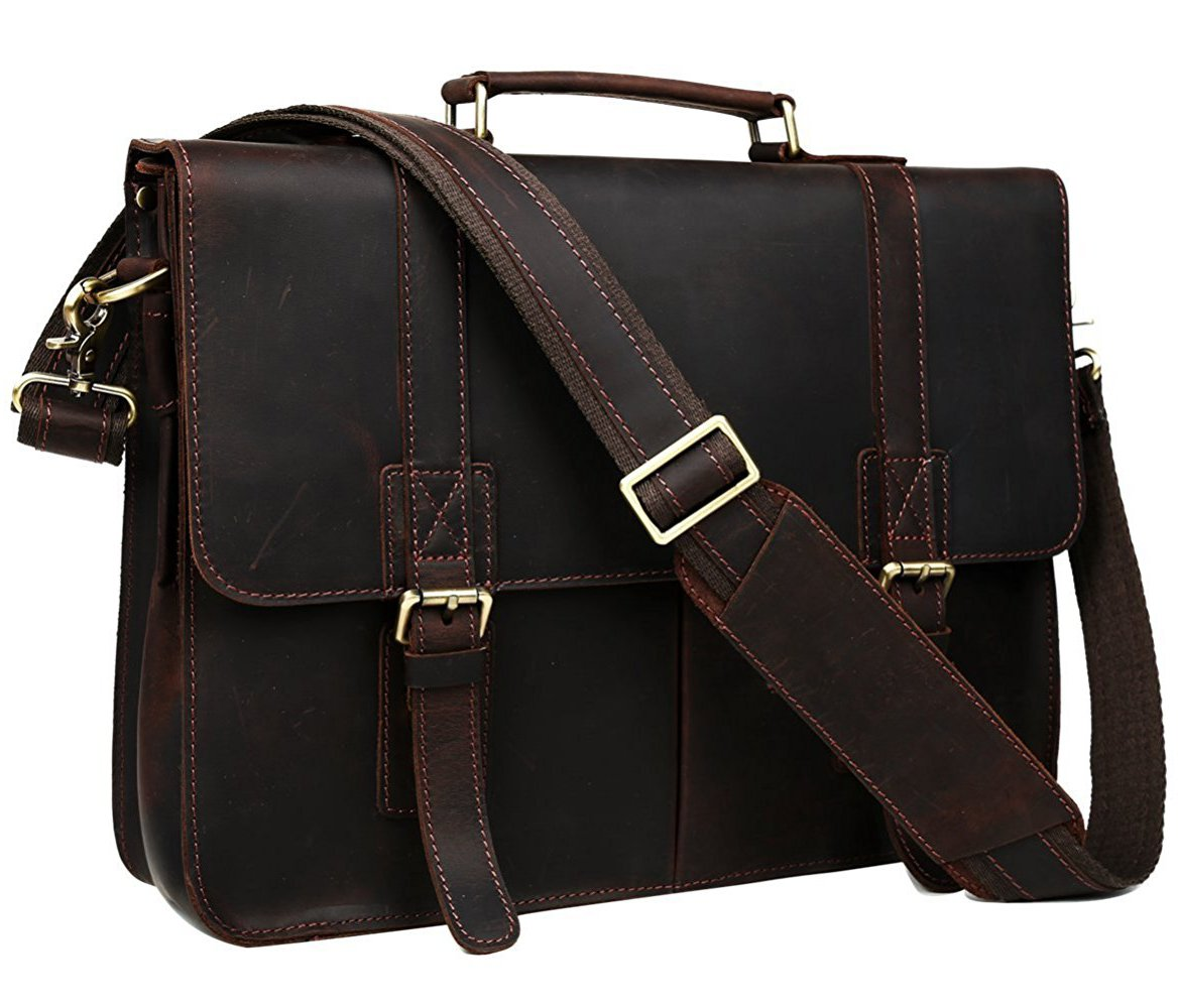 BAIGIO Men's Brown Leather 17 Inch Laptop Briefcase Messenger Tote Bag, Dark Brown 375805