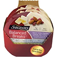 Sargento Balanced Breaks Single Natural White Cheddar Cheese with Almonds and Cranberries, 1.5 Ounce -- 12 per case.