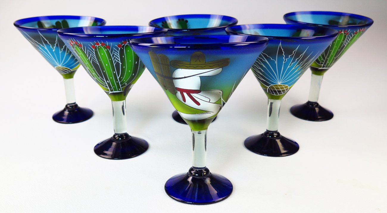Mexican Glass Margarita Martini Hand Painted Poncho and Cactus, 14 Oz, Set of 6