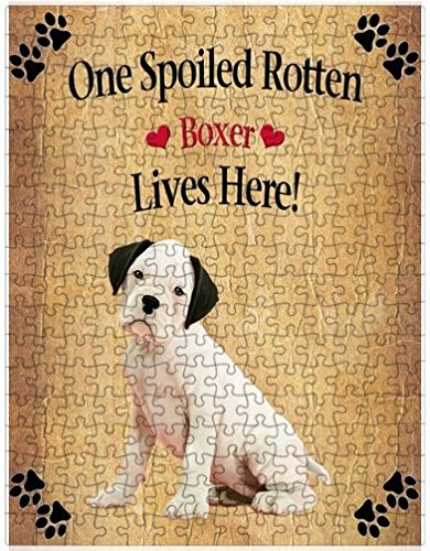 Spoiled Rotten White Boxer Dog Puzzle with Photo Tin (551 pc.)