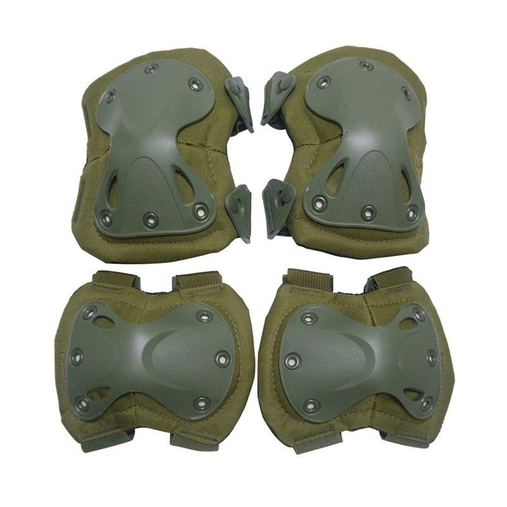 Brown YASSUN Kneepad Elbow Suit Durable Well-Knit for Field Operations Security Outdoor Sports Protective Tools 4 Piece Set