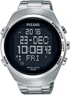 pulsar men s pq2001 silver tone digital stainless steel watch with rh amazon co uk Pulsar Watch Manual Original Pulsar Digital Watch