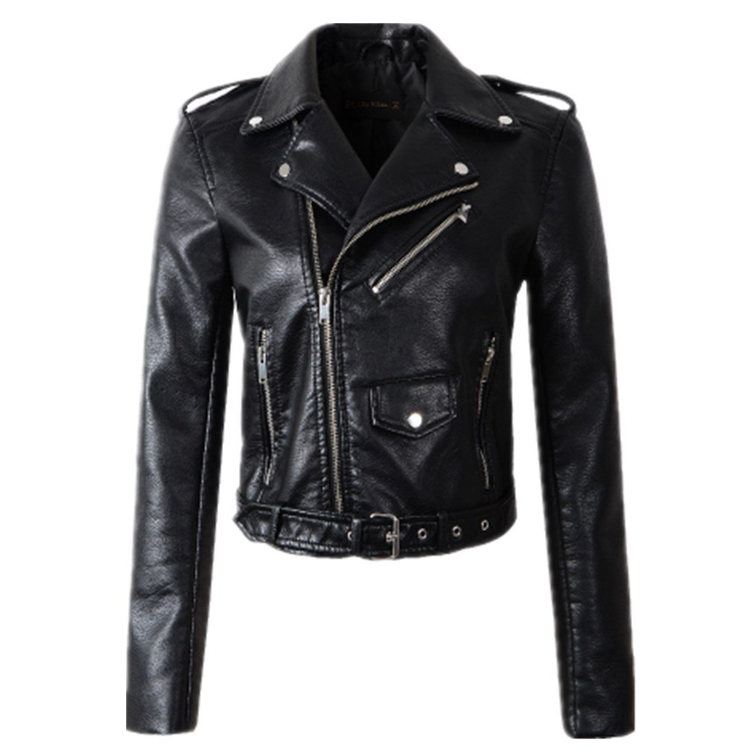 ForeMode Women Autunm Winter Black Faux Leather Jackets Lady Bomber Motorcycle Cool Outerwear Coat with Belt(Black,XXL)
