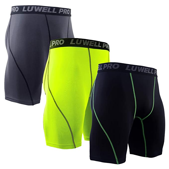 LUWELL PRO Men's 3 Pack Compression Shorts Baselayer Cool Dry Sports Tights Shorts for Running,Workout,Training