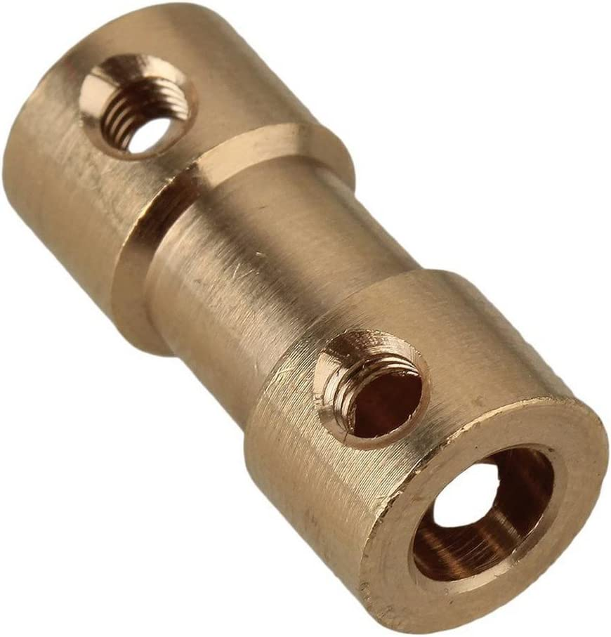 Demino Golden Brass Rigid Shaft Adapter Connector Coupling Coupler Motor Transmission Connector with Screws Wrench 2pcs 2MM to 3MM