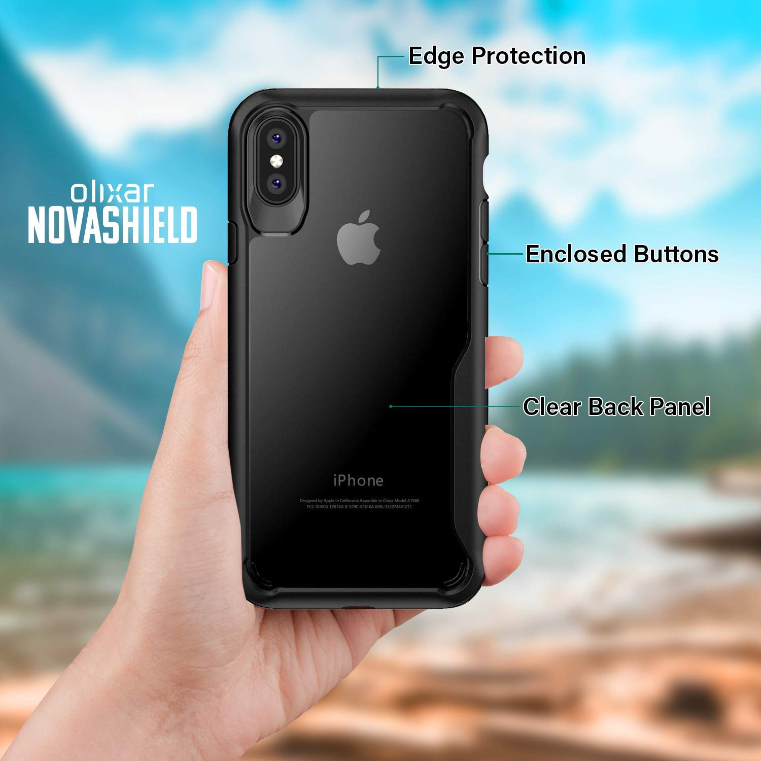 more photos c7514 f56c9 Olixar iPhone XS Max Bumper Case - Hard Tough Slim Cover - Clear Back  Design for iPhone XS Max (2018) 6.5inch - Shock Protection - NovaShield -  Black