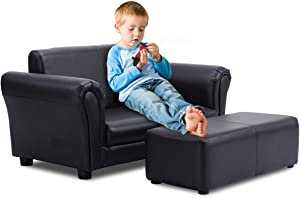 Casart Kids Sofa Set with Footstool and Upholstered Couch, 2 Seat Armrest Chair Lounge for Boys & Girls