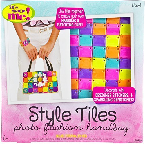 Its So Me! Style Tiles Photo Fashion Handbag Kit with 78 Colorful Tiles, Handles and Fabric for Assembly, Designer Stickers & Sparkling Gemstones to Decorate ()
