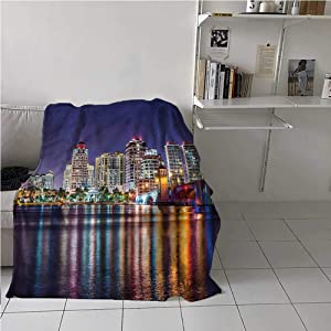 carmaxs Dog Blanket American Custom Blanket for Couch Bed Sofa Florida Nightime Skyline 50 x 60 Inches