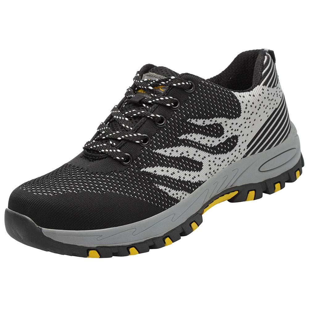 Street Sneakers Men Work Sneakers ✔ Men's Steel Toe Work Shoes Safety Shoes Breathable Casual Construction Shoes Black