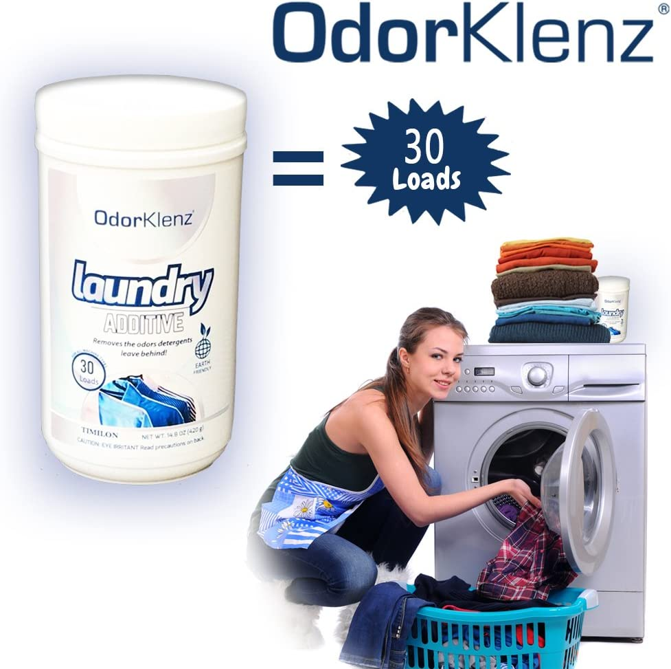 OdorKlenz Laundry Additive, Powder Large - 30 Loads, Odor Neutralizer, Made in The USA, HE Friendly & Safe for All Machines.