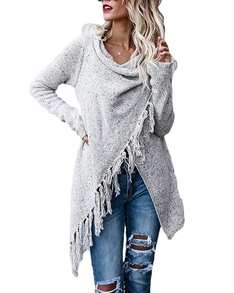 ShiFan Donna Baggy Cardigan Con Frange Lungo Elegante A Manica Lunga Cappotto Maglione Maglia Sweater
