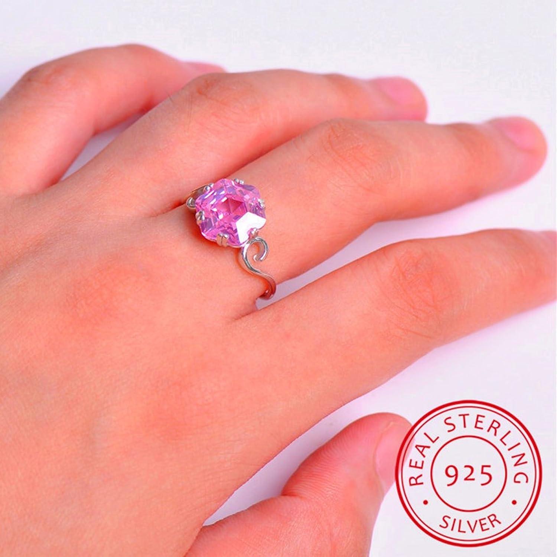 Amazon.com: T&T ring Fashion Elegant Pink Zircon Ring Vintage ...