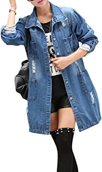 Mujer Chaqueta de Mezclilla Denim Jacket Suelto Manga Larga Chaqueta Otoño Jeans Larga Cárdigan