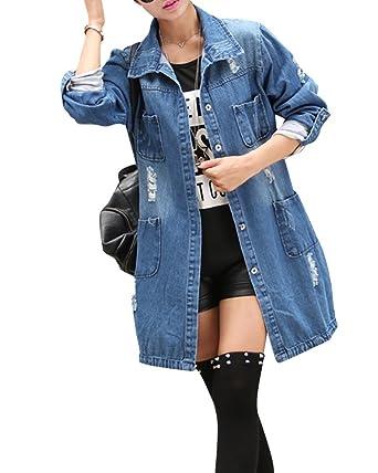 Veste en jean longue femme bleu