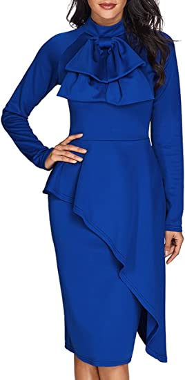 Women's Tie Neck Peplum Business Dress