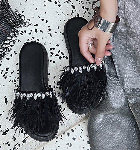Extérieur Aisun Femme Ornement Plates Chaussures Mules Simple Strass Noir q641A6Yx