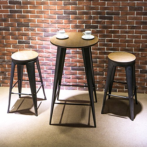 "Harper & Bright Designs 30"" Round Metal Bar Table Set with 2 Stools 3-Piece Pub Set (Oak and ..."